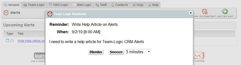 This is a Team-Logic Alert Pop-up