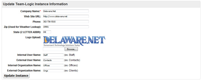 Instance Info Screen